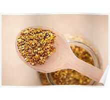 pollen grains portion on wooden spoon Poster