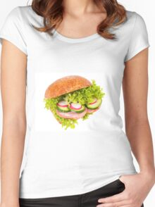 sandwich of graham roll with vegetables Women's Fitted Scoop T-Shirt