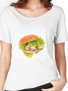 sandwich of graham roll with vegetables Women's Relaxed Fit T-Shirt