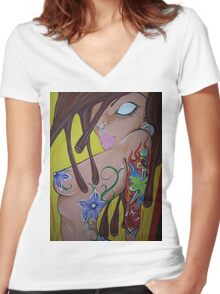 Ink monkey girl - sexy, tattooed, hardcore Women's Fitted V-Neck T-Shirt