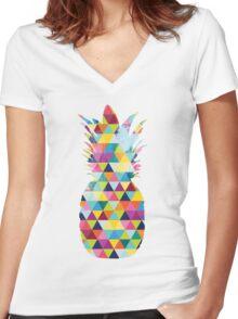 Rainbow Pineapple  Women's Fitted V-Neck T-Shirt