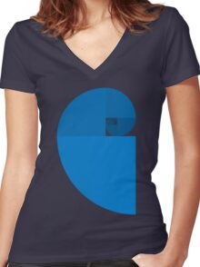 Golden Ratio Spiral - Blue Sections Women's Fitted V-Neck T-Shirt