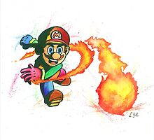 """""""Flower Power"""". Mario from the videogame Super Mario Bros by Nintendo. by LemGeekArt"""