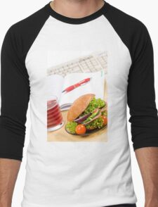Sandwich with vegetables and juice  Men's Baseball ¾ T-Shirt