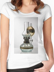 retro style glass decorative oil lamp Women's Fitted Scoop T-Shirt
