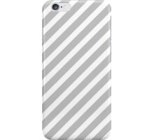 Christmas Silver & White Candy Cane Diagonal Stripe iPhone Case/Skin