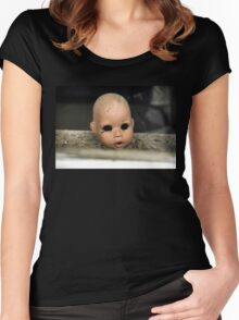 Save Me Steam Punk Doll Head Women's Fitted Scoop T-Shirt