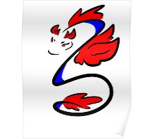 Blue and Red Dragon Poster