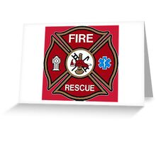 Fire Rescue Maltese Cross Greeting Card