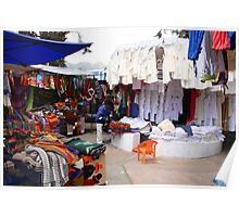 Clothing Carpet and Linens at the Otavalo Market Poster