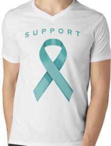 Teal Awareness Ribbon of Support Mens V-Neck T-Shirt