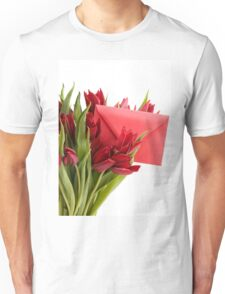 Bouquet of cut red tulips  Unisex T-Shirt