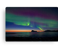 Aurora Borealis & sunset Canvas Print