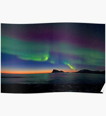 Aurora Borealis & sunset Poster