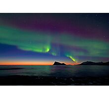 Aurora Borealis & sunset Photographic Print