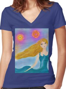 Sea and Sun Girl Women's Fitted V-Neck T-Shirt