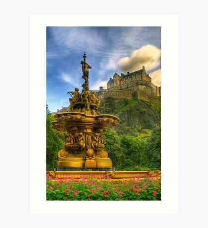 Edinburgh Castle & The Ross Monument Art Print