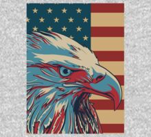American Patriotic Eagle Bald One Piece - Long Sleeve