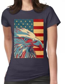 American Patriotic Eagle Bald Womens Fitted T-Shirt