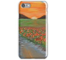 Blazing Sunset Poppy Field Wall Art original oil painting iPhone Case/Skin
