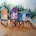 Beach huts - by Bev  Wells