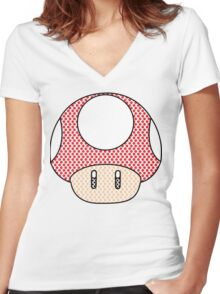 nintendo Mushroom Women's Fitted V-Neck T-Shirt