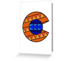 Tribal C Flag Broncos Greeting Card