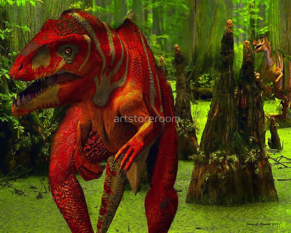 Allosaurus Hunted by a Raptor by artstoreroom