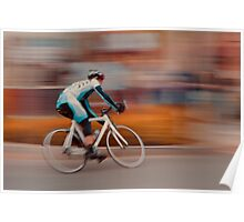 A Lone Cyclist Heads into the Final Lap Poster