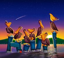 Pelican Sunset Whimsical Cartoon Tropical birds Seascape  by Walt Curlee