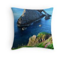 """Bow in Bloom""  Fiddlers Bow Rock, Moray Firth Throw Pillow"