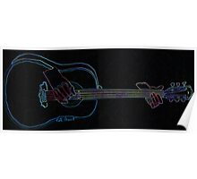 Black Neon Glow Abstract Guitar  Poster