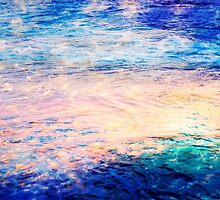clouds, water & sunset abstract by Ange Wall