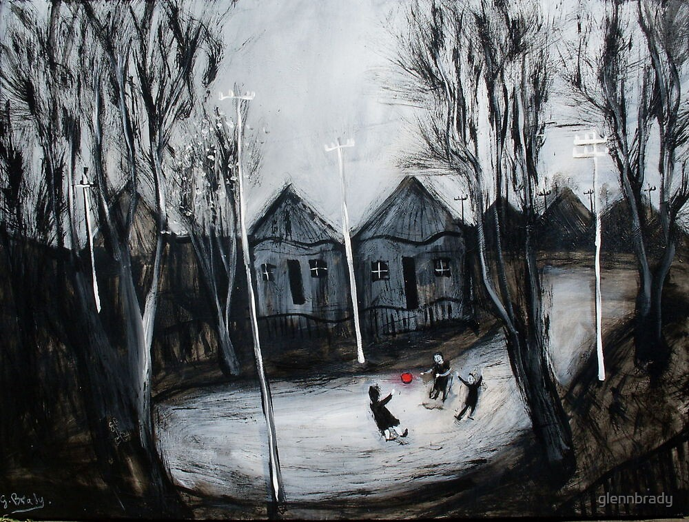 children playing on a cold winters day by glennbrady