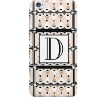 1920s Pink Champagne Deco Monogram letter D iPhone Case/Skin