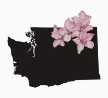 Washington Silhouette and Flowers Kids Tee