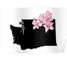 Washington Silhouette and Flowers Poster