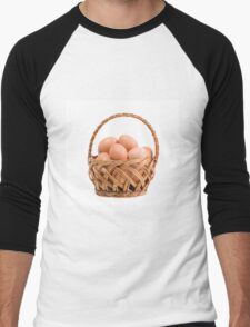 eggs in wicker basket  Men's Baseball ¾ T-Shirt