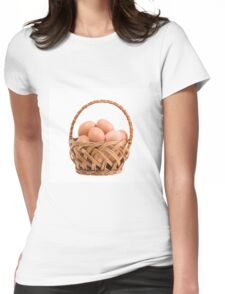 eggs in wicker basket  Womens Fitted T-Shirt