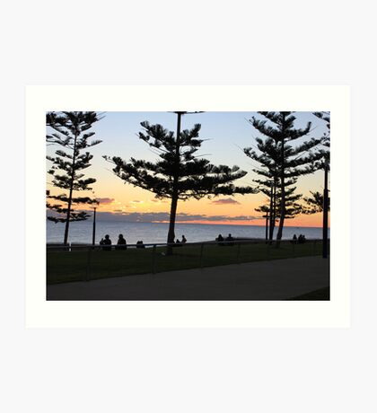 Scarborough beach sunset with silhouttes of trees Art Print