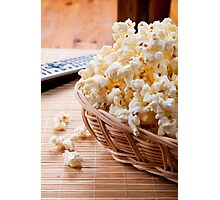 basket full of many crunchy popcorn Photographic Print