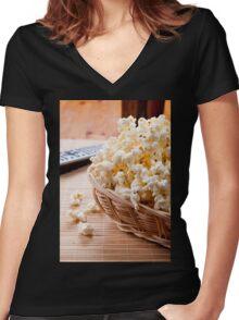 basket full of many crunchy popcorn Women's Fitted V-Neck T-Shirt