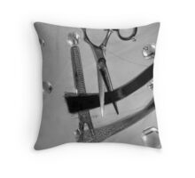 Shear Cut b&w cartoon 2 Throw Pillow