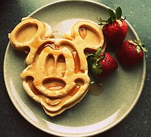 Mickey Mouse Waffle with Strawberries by Callie Smith