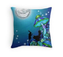 Alice in Wonderland and White Rabbit Throw Pillow