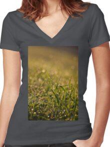 Green fresh grass leaves Women's Fitted V-Neck T-Shirt