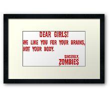 Zombie Letter Framed Print