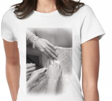 Bridal wedding dress buttons Womens Fitted T-Shirt