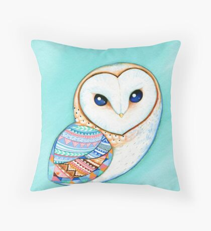 Tribal Pattern Barn Owl Throw Pillow
