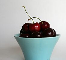 Sweet Cherries in a Blue Bowl by micala
